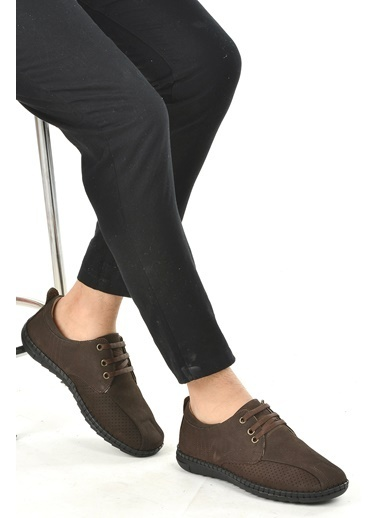 Ayakland Ayakland 021-1 Nubuk Deri Günlük Erkek Jel Topuk Ayakkabı Kahve
